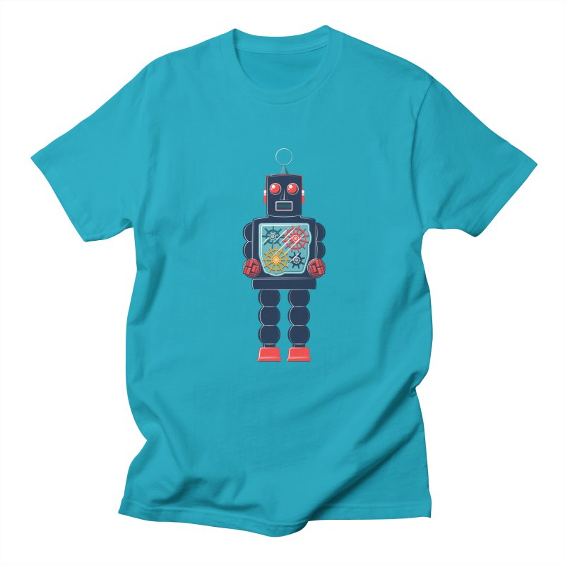 GearBot in Men's T-Shirt Cyan by Ian Glaubinger on Threadless!