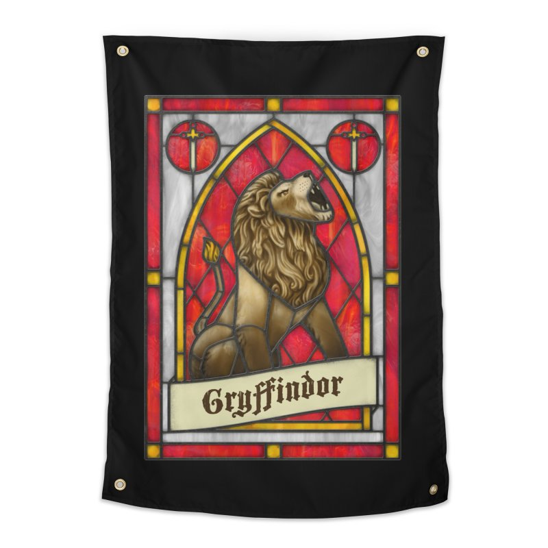Stained Glass Series - Gryffindor Home Tapestry by Ian Leino @ Threadless