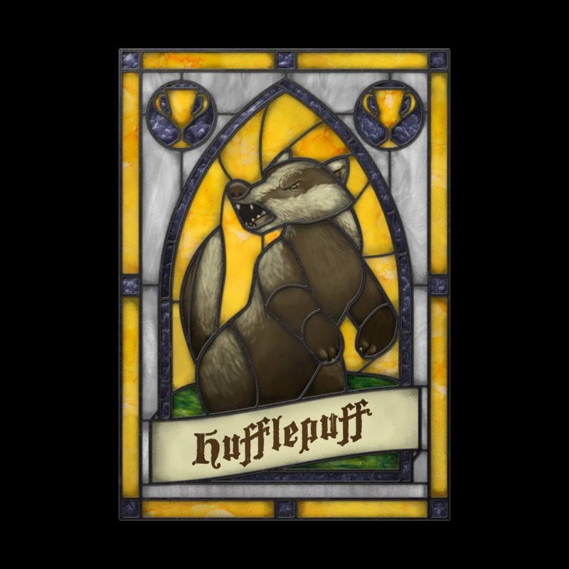 Stained Glass Series - Hufflepuff None  by Ian Leino @ Threadless