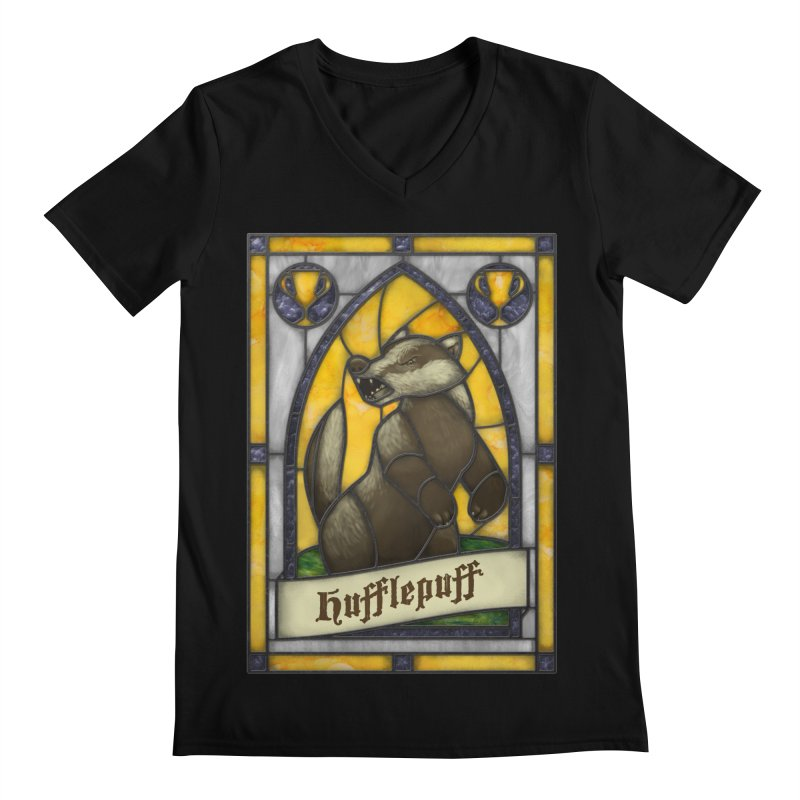 Stained Glass Series - Hufflepuff Men's V-Neck by Ian Leino @ Threadless