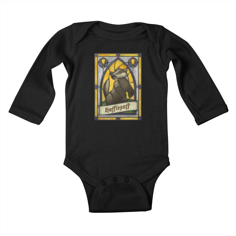 Stained Glass Series - Hufflepuff Kids Baby Longsleeve Bodysuit by Ian Leino @ Threadless