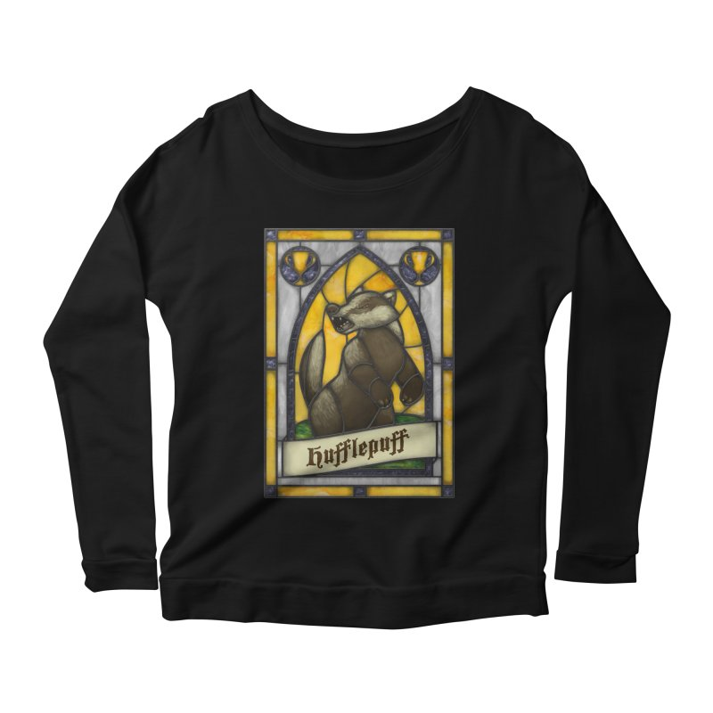 Stained Glass Series - Hufflepuff Women's Scoop Neck Longsleeve T-Shirt by Ian Leino @ Threadless