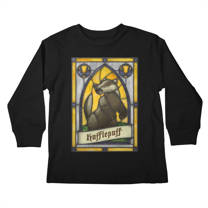 Stained Glass Series - Hufflepuff Kids Longsleeve T-Shirt by Ian Leino @ Threadless