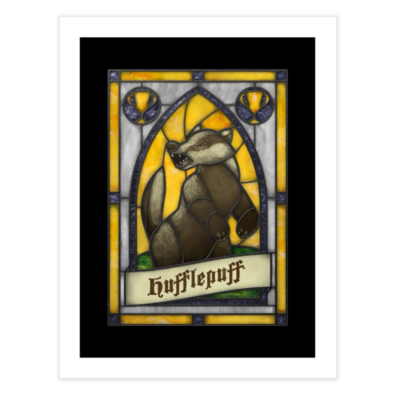 Stained Glass Series - Hufflepuff Home Fine Art Print by Ian Leino @ Threadless