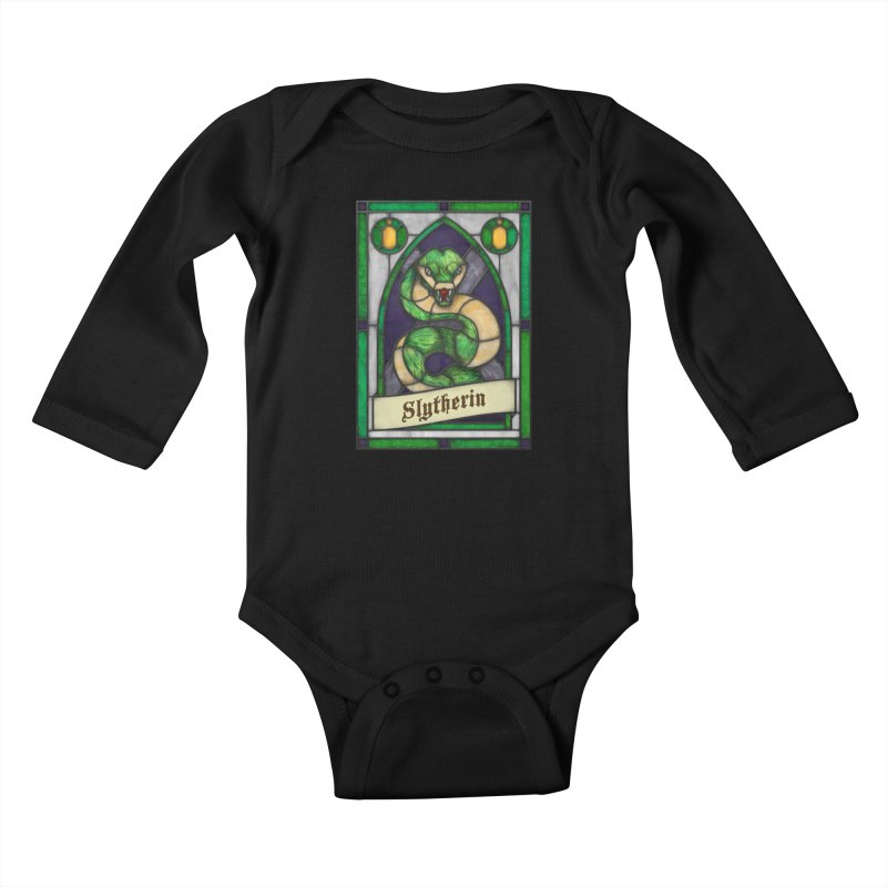 Stained Glass Series - Slytherin Kids Baby Longsleeve Bodysuit by Ian Leino @ Threadless