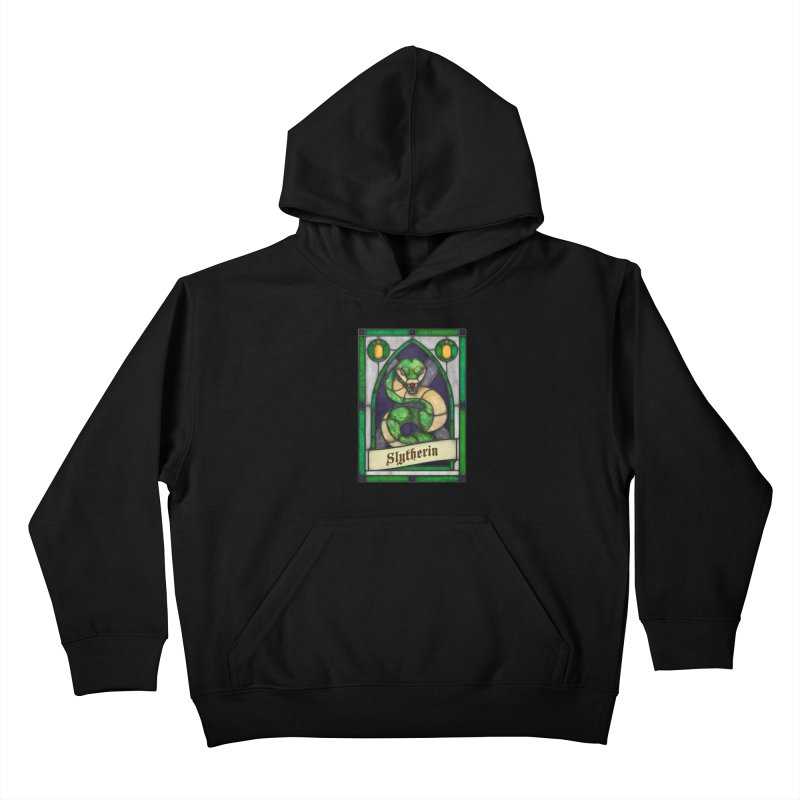 Stained Glass Series - Slytherin Kids Pullover Hoody by Ian Leino @ Threadless