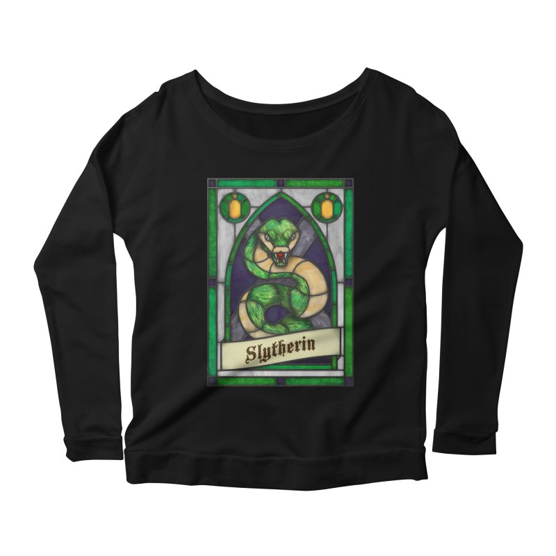 Stained Glass Series - Slytherin Women's Scoop Neck Longsleeve T-Shirt by Ian Leino @ Threadless