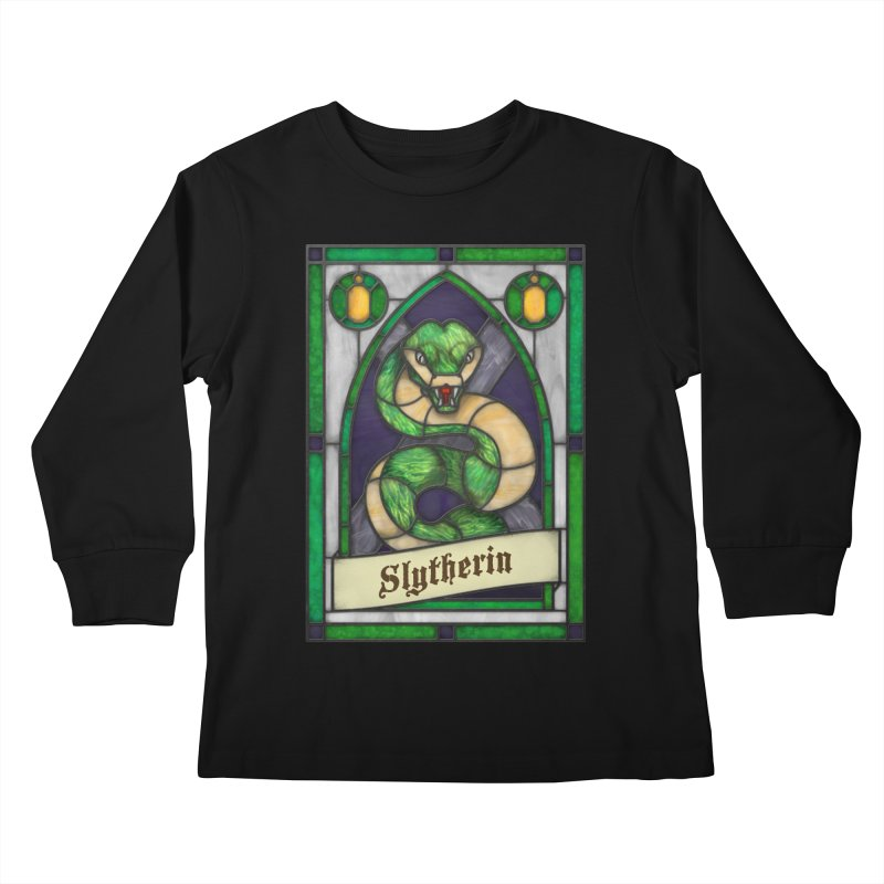 Stained Glass Series - Slytherin Kids Longsleeve T-Shirt by Ian Leino @ Threadless