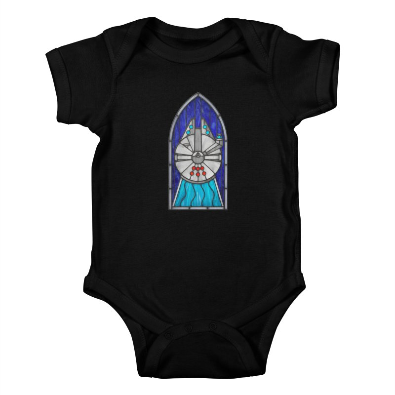 Stained Glass Series - Millennium Falcon Kids Baby Bodysuit by Ian Leino @ Threadless