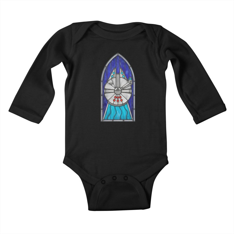 Stained Glass Series - Millennium Falcon Kids Baby Longsleeve Bodysuit by Ian Leino @ Threadless