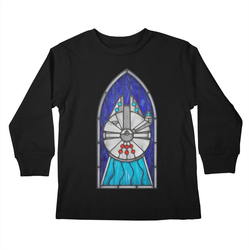 Stained Glass Series - Millennium Falcon Kids Longsleeve T-Shirt by Ian Leino @ Threadless