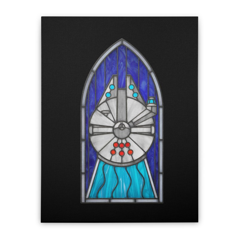 Stained Glass Series - Millennium Falcon Home Stretched Canvas by Ian Leino @ Threadless