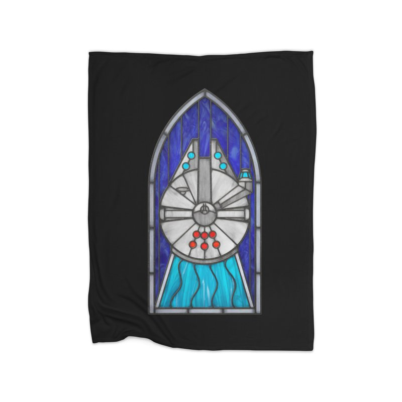 Stained Glass Series - Millennium Falcon Home Fleece Blanket Blanket by Ian Leino @ Threadless
