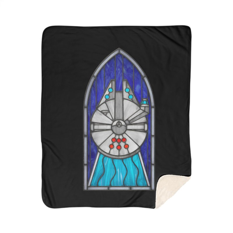Stained Glass Series - Millennium Falcon Home Sherpa Blanket Blanket by Ian Leino @ Threadless