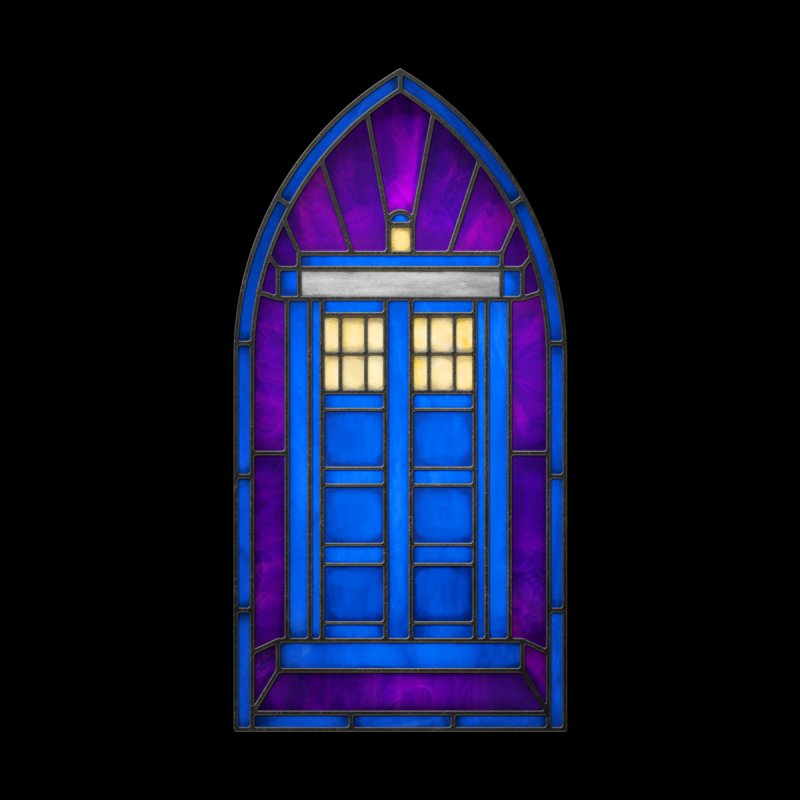 Stained Glass Series - TARDIS None  by Ian Leino @ Threadless