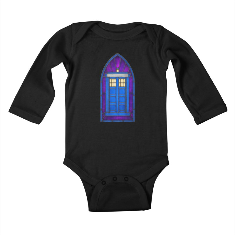 Stained Glass Series - TARDIS Kids Baby Longsleeve Bodysuit by Ian Leino @ Threadless