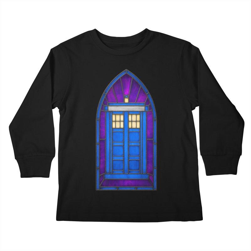 Stained Glass Series - TARDIS Kids Longsleeve T-Shirt by Ian Leino @ Threadless