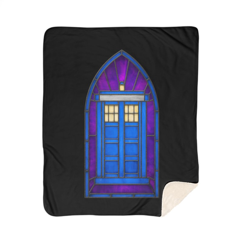Stained Glass Series - TARDIS Home Sherpa Blanket Blanket by Ian Leino @ Threadless