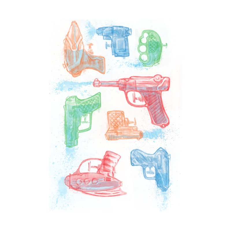 Watercolor Waterguns Home Framed Fine Art Print by Ian Leino @ Threadless