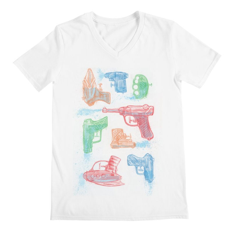 Watercolor Waterguns Men's V-Neck by Ian Leino @ Threadless