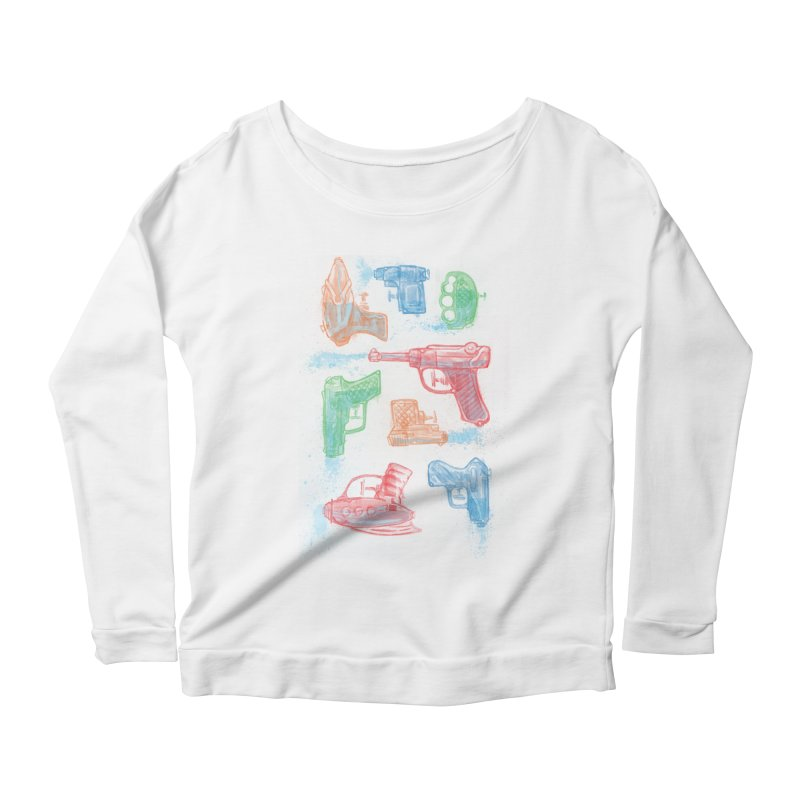 Watercolor Waterguns Women's Scoop Neck Longsleeve T-Shirt by Ian Leino @ Threadless