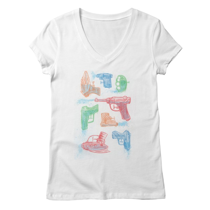 Watercolor Waterguns Women's Regular V-Neck by Ian Leino @ Threadless