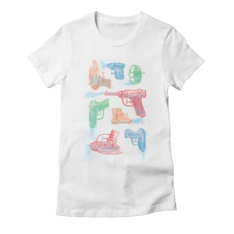Watercolor Waterguns Women's Fitted T-Shirt by Ian Leino @ Threadless