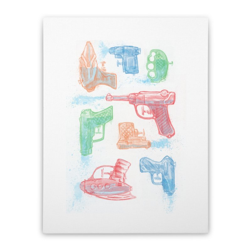 Watercolor Waterguns Home Stretched Canvas by Ian Leino @ Threadless
