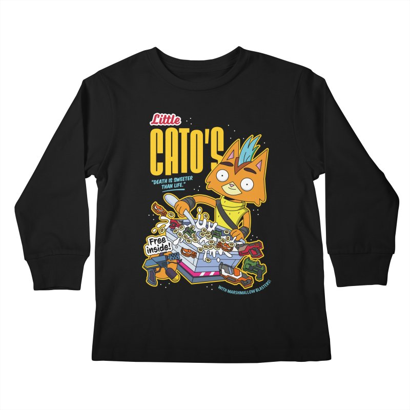 Little Cato's Cereal Kids Longsleeve T-Shirt by Ian J. Norris
