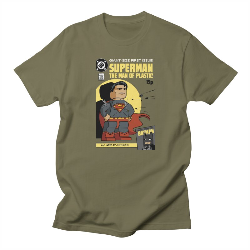 Lego Superman in Men's Regular T-Shirt Olive by Ian J. Norris