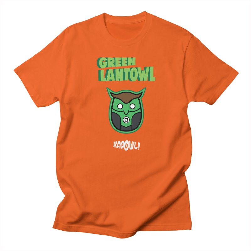 Green Lantowl in Men's Regular T-Shirt Orange Poppy by Ian J. Norris