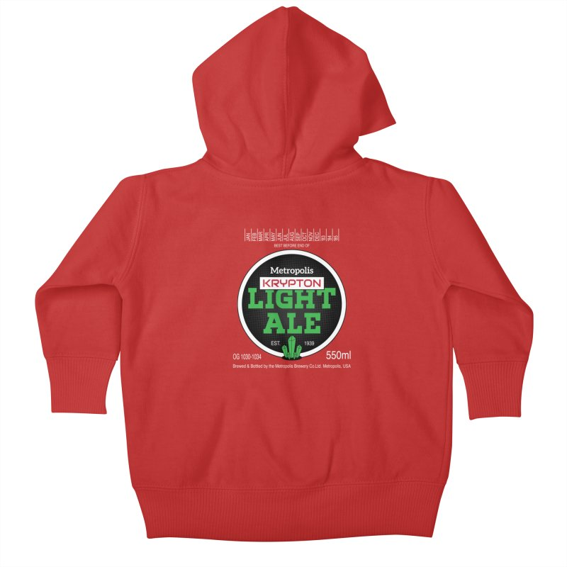 Metropolis Krypton Light Ale Kids Baby Zip-Up Hoody by Ian J. Norris