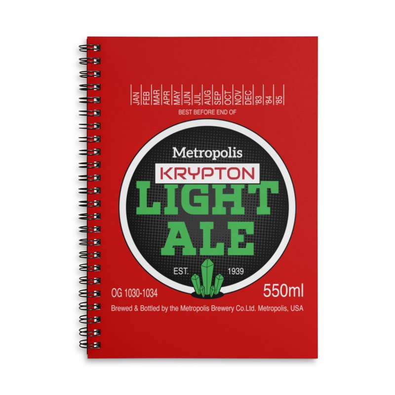 Metropolis Krypton Light Ale Accessories Lined Spiral Notebook by Ian J. Norris