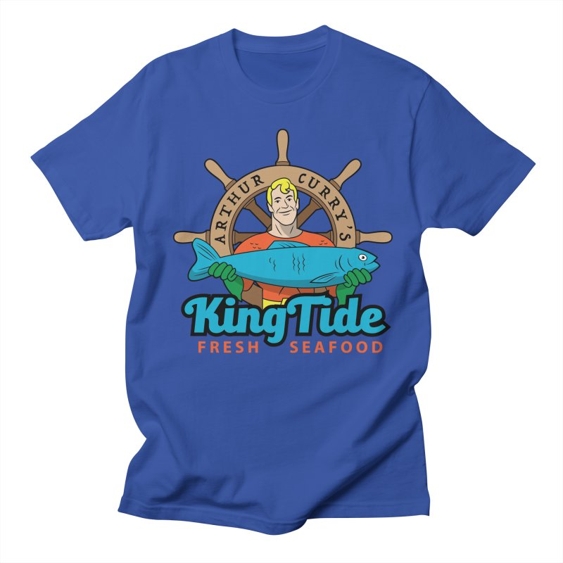 Arthur Curry's King Tide - Fresh Seafood in Men's Regular T-Shirt Royal Blue by Ian J. Norris