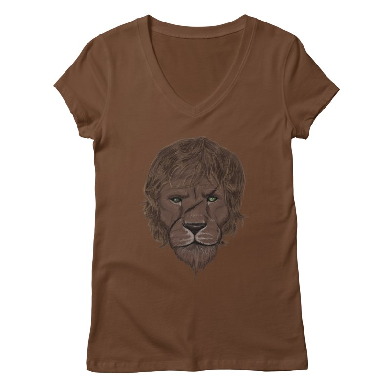 Scarred Lion Women's Regular V-Neck by ibeenthere's Artist Shop