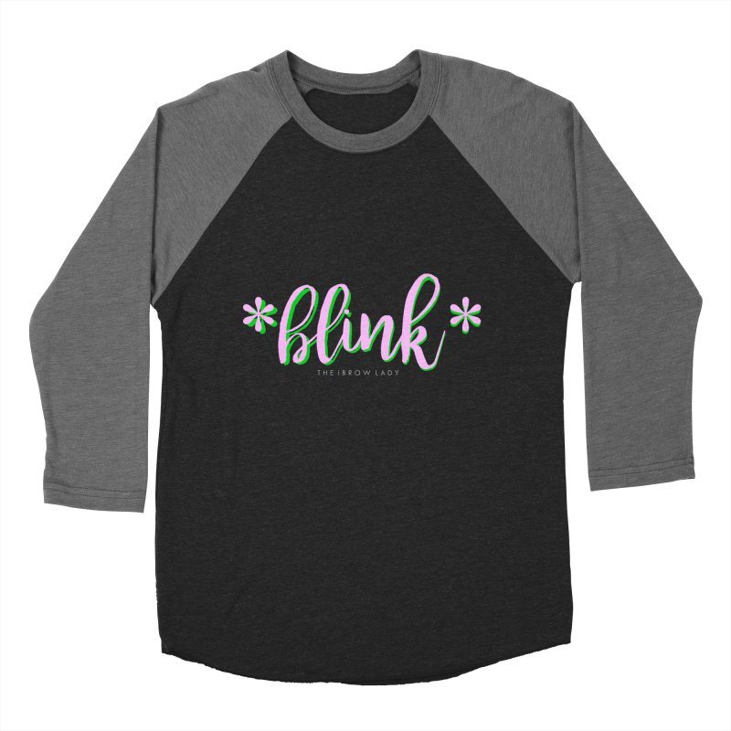 *Blink* Pink & Green Women's Baseball Triblend Longsleeve T-Shirt by Threaded by The iBrow Lady