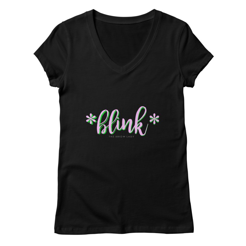 *Blink* Pink & Green Women's V-Neck by Threaded by The iBrow Lady