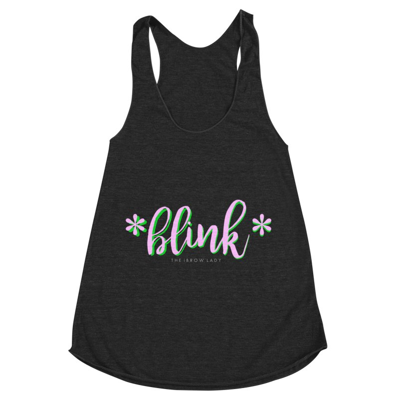 *Blink* Pink & Green Women's Racerback Triblend Tank by Threaded by The iBrow Lady