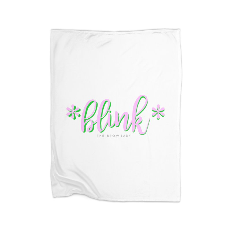 *Blink* Pink & Green Home Fleece Blanket Blanket by Threaded by The iBrow Lady