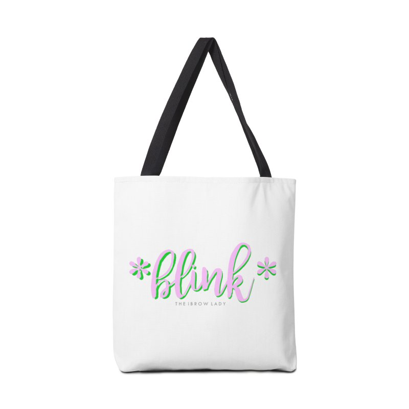 *Blink* Pink & Green Accessories Tote Bag Bag by Threaded by The iBrow Lady