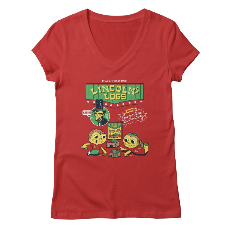 Lincoln's Logs Women's V-Neck by Ibyes