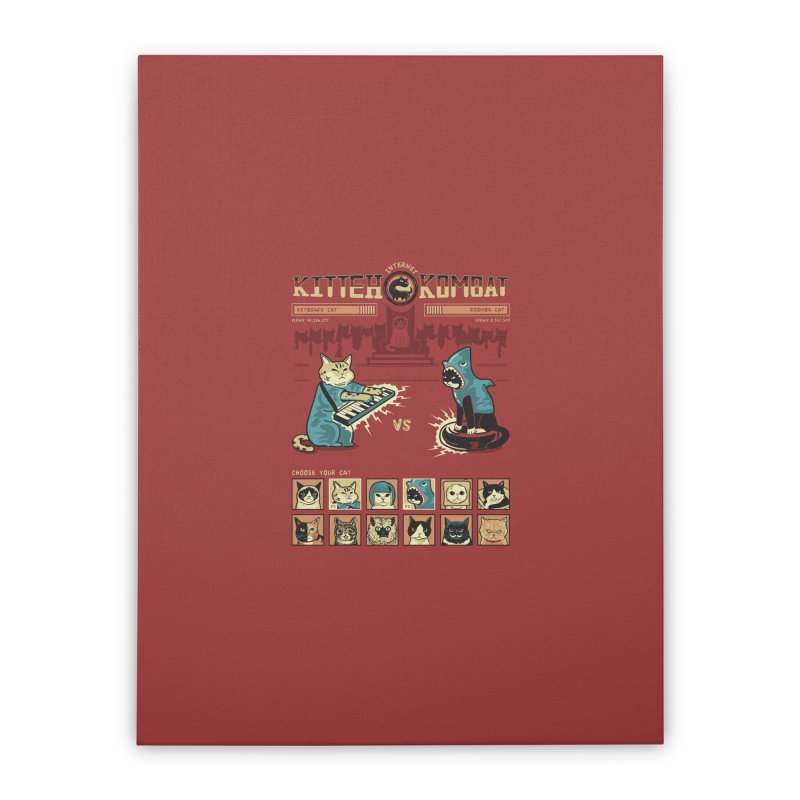 Kitty Kombat Home Stretched Canvas by Ibyes