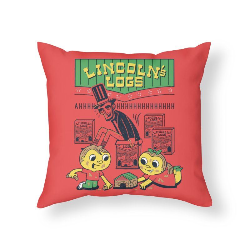 Lincoln's Logs Home Throw Pillow by Ibyes