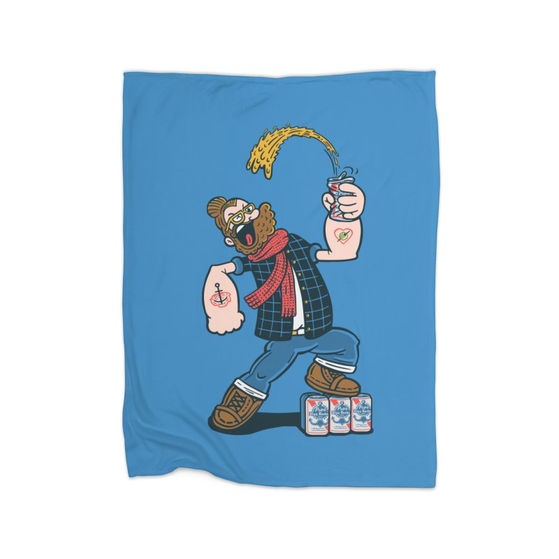 Hipster Man Home Fleece Blanket by Ibyes