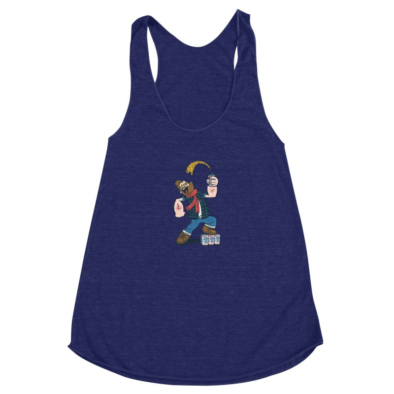 Hipster Man Women's Racerback Triblend Tank by Ibyes