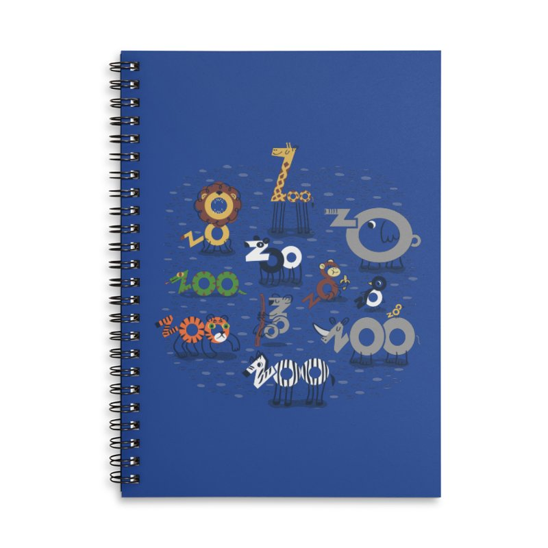 Zoo Animals Accessories Lined Spiral Notebook by Ibyes
