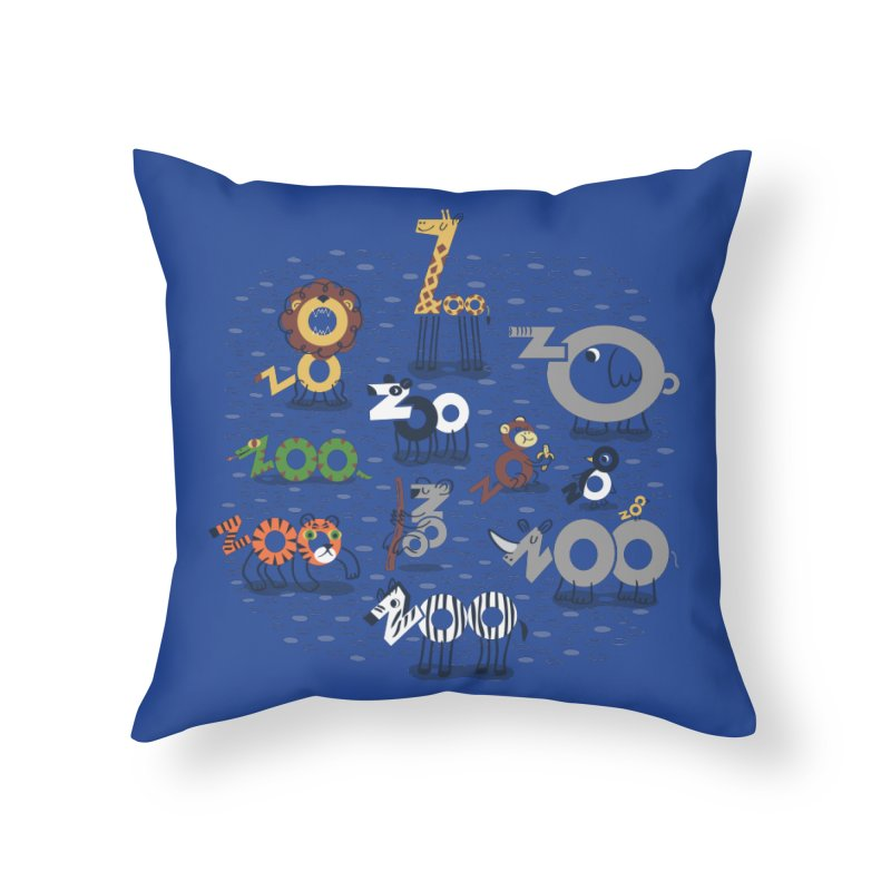 Zoo Animals Home Throw Pillow by Ibyes