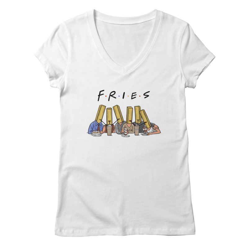 Fries Women's Regular V-Neck by Ibyes
