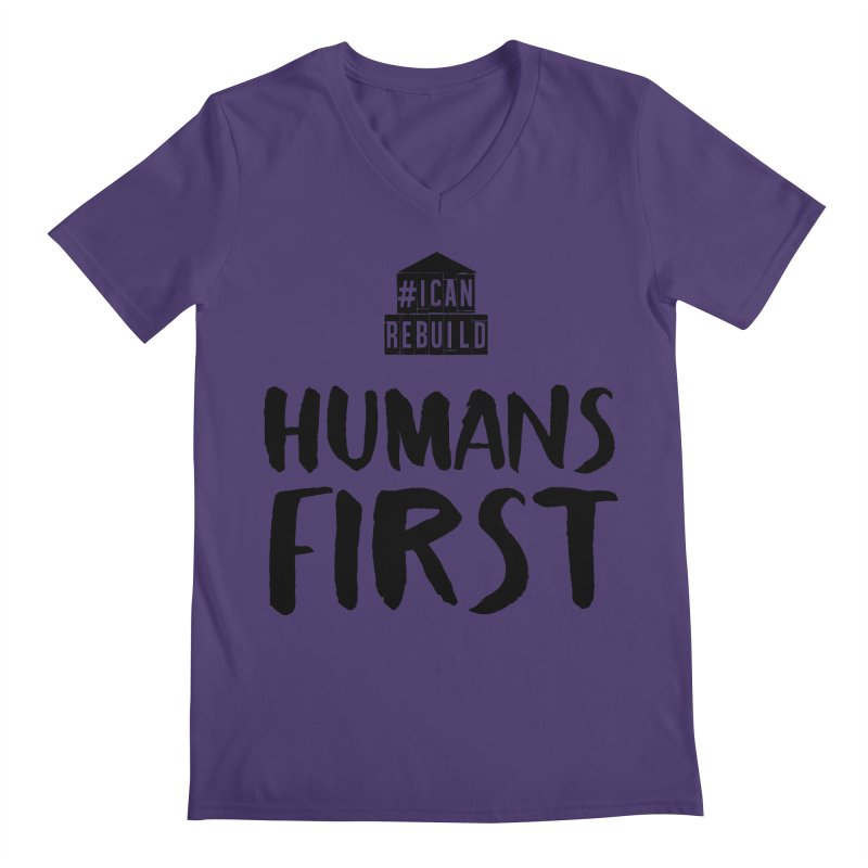 Humans First in Men's V-Neck Heather Purple by #icanrebuild Merchandise