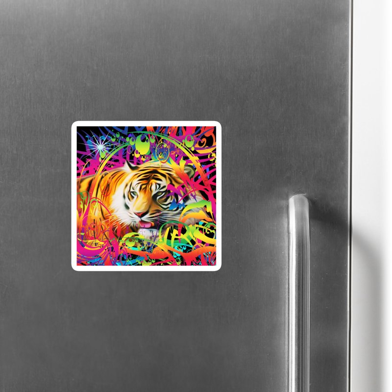Tiger in the Jungle Accessories Magnet by Matthew Lacey-icarusismartdesigns